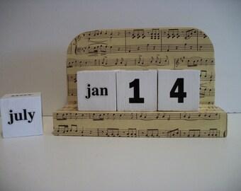 Music Theme Calendar Perpetual  Wood Block Golden Music Theme Decor