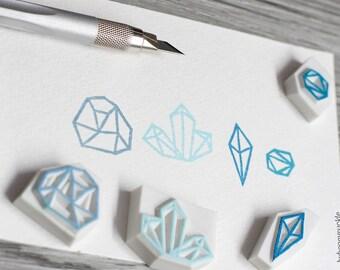 geometric rubber stamp, geometric stamp, diamond rubber stamp, diamond stamp, gem stone stamp, crystal stamp, blue tourmalines, jewel stamp