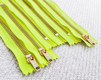 5inch - Neon Yellow Metal Zipper - Gold Teeth - 6pcs