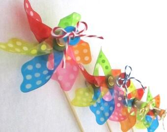 Rainbow Bright Pinwheels or Spinning Pinwheel Cupcake Toppers or Pinwheel Favors for birthday party baby shower or Bat Mitzvah