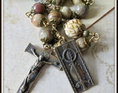 Chi Rho Wheat, Wine & Fish Tenner, Catholic Single Decade Pocket Rosary for Men, Wire Wrapped in Bronze