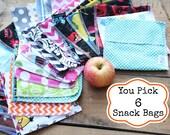 Reusable Snack Bag Bundle You PICK Set of 6 - Over 48 choices - Dishwasher safe
