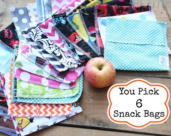 Reusable Snack Bag Bundle You PICK Set of 6 - Over 48 choices - Dishwasher safe