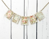 Tiny CARDS Box Banner in Lowercase Sign Burlap & Lace Rustic Wedding Decoration
