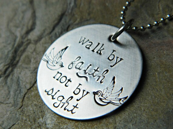 Handstamped Faith Necklace - Walk by Faith Not by Sight - Sterling Alternative - Hypoallergenic Stainless Steel - Ready to Ship
