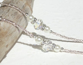 Eyeglass Chain Beaded with Pearl Clear Crystal and Pink Seed Beads - Eyeglass Holder Necklace Reading Glasses Chain