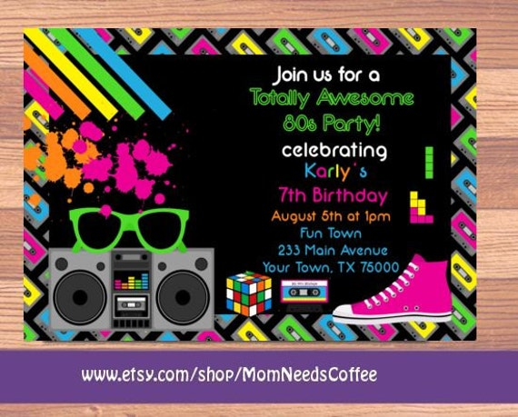 80er Jahre Einladung 80er Jahre Thema Party von MomNeedsCoffee