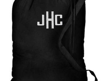 Personalized Dorm College Camp Laundry Bag Black