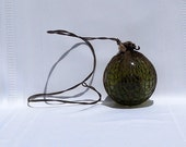 "German (Heye) Glass 3 1/2"" Green Fishing Float"