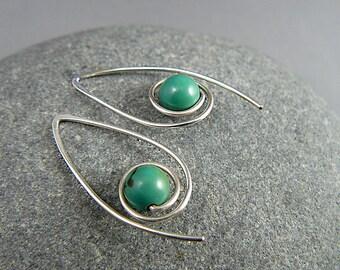 Silver Turquoise Hoop Earrings, Sterling Silver Hoops, Gemstone Hoop Earrings, Turquoise Earrings, Turquoise Hoop Earrings, Silver Hoops