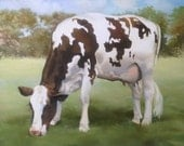 Brown and White Cow - Giclee print
