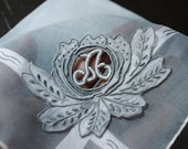 HANDKERCHIEF - SHEER - initial letter A - grey - white - applique - unique