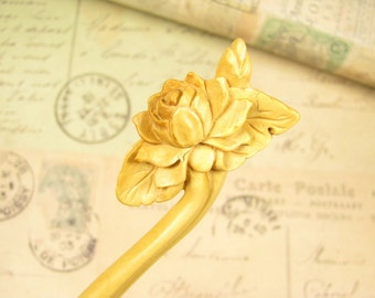 Exquisite Boxwood Hair Stick - Lotus Flower