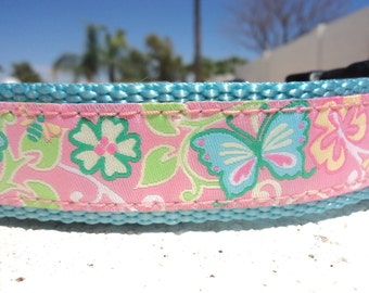 """Sale Large Dog Collar Butterfly Garden 1.5"""" width Side Release adjustable Buckle - Martingale style is cost upgrade - no 1"""" width"""