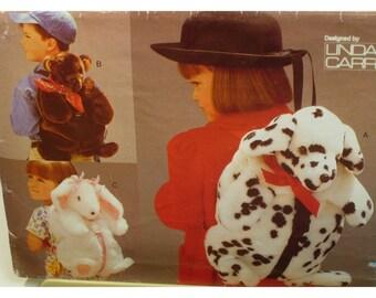 "Animal Backpack Pattern, Bunny, Bear, Dalmation Dog, Fake Fur, Vogue No. 9112 UNCUT Size 17x10"" (43x25.5cm)"
