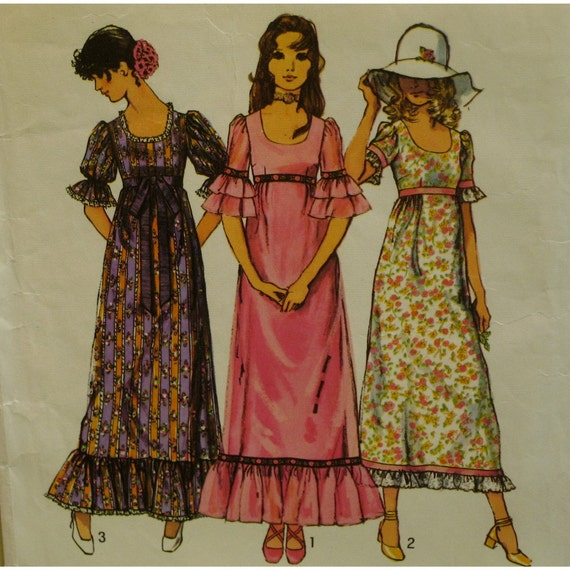 1970s Peasant Dress Pattern Empire Waist Fitted Bodice Maxi