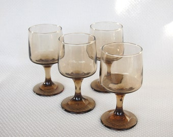 Set of 4 OR set of 8 Vintage Libbey Glasses Tawny Accent Goblets Brown Stemware Glasses Rock Sharpe Pattern Footed Smokey Brown