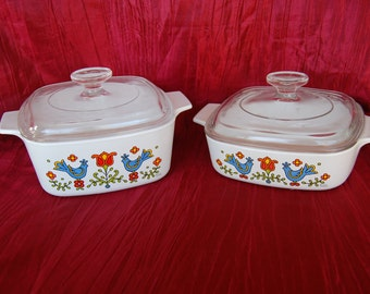 Choice of Vintage Corning Ware Country Festival Small Casserole Dishes 1 Quart and 1.5 Quart