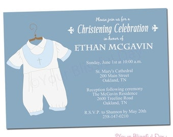 PRINTABLE Baby Boy Christening/Baptism Party Invitations #601