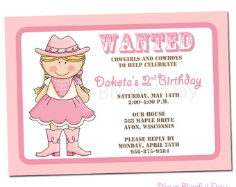 PRINTABLE Cowgirl Party Invitations #523