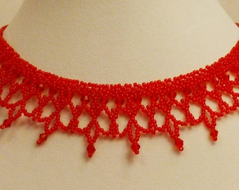 Red crystal intricate beaded Victorian choker necklace N77