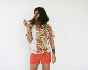 Clearance SALE/ Floral printed shirt, Cream satin blouse, Summer top