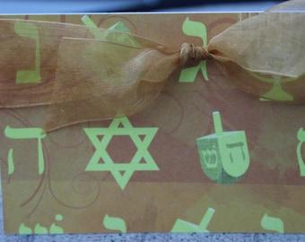 Hanukkah Card, Dreidel Hanukkah Card, Jewish Star Hanukkah Card, Holiday Card, Happy Hanukkah Card