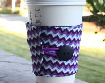 Coffee Cozy in Navy Blue and Purple Chevron - Coffee Cup Sleeve - Fabric Cup Cozy - Cup Wrap - Coffee Shop Cup - CKStitches - Teacher Gift