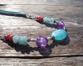 Bright Turquoise, Amethyst & Coral Necklace, Suede, Purple, Wedding, Gift, Summer