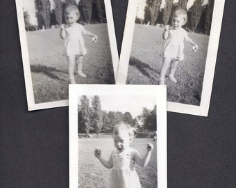 Happy Little Girl, Set of 3 vintage black and white photographs, Great for crafting projects Summertime Playtime Outdoor Play