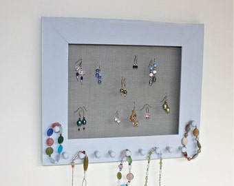 Jewelry Earring Holder in Blue, Wood Frame Display for Bracelets, Necklaces.