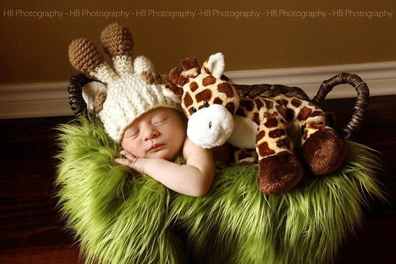 Giraffe hat and diaper cover with tail