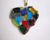 Colorful HEART Fused Glass Suncatcher Ornament Child Artist