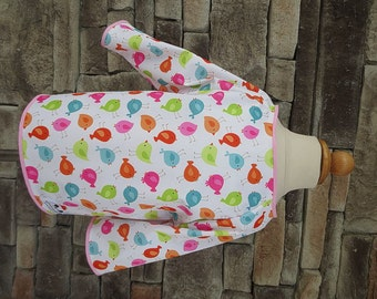 Kid Art Smock - Size 4T 5T - Pink Bird Print -Waterproof and Long Sleeved