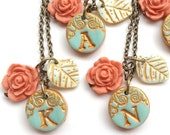 Petite Aqua and Coral Bridesmaid Necklaces - Set of 5