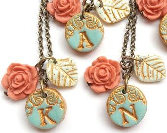 Petite Aqua and Coral Bridesmaid Necklaces - Set of 5
