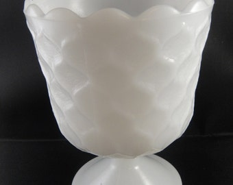 Milk Glass Honeycomb Pattern Footed Planter Vase E O Brody