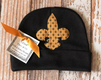 L'il Dat Black and Gold Fleur de Lis Newborn Cap