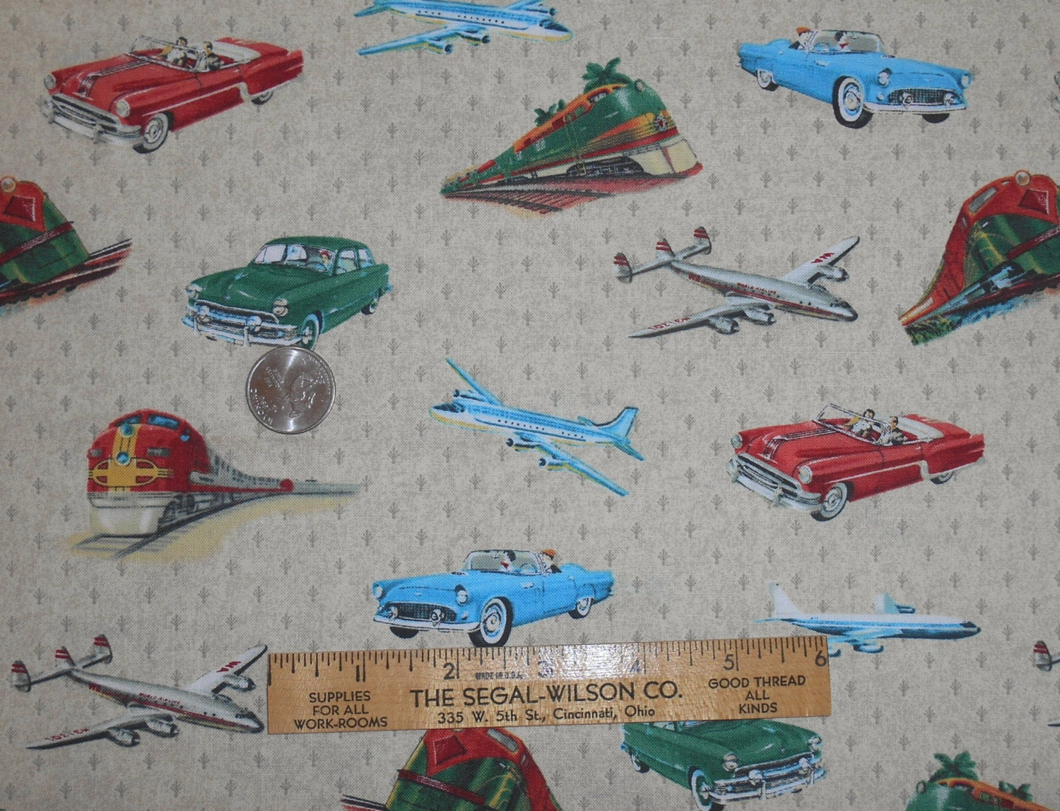 Planes trains automobiles on tan fabric windham fabrics 100 for Train fabric by the yard