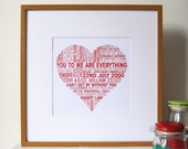 Personalised Love Heart Print - Personalized Love Heart Print - Valentines - Romantic - Anniversary - Wedding - I Love You
