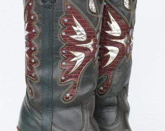 MINT Beautiful vintage Miss Capezio butterfly cutout leather womens cowboy boots 8 M