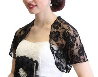 Black Lace Bolero, bridal lace jacket, bridal shrug, wedding lace jacket 720ROS-BLK
