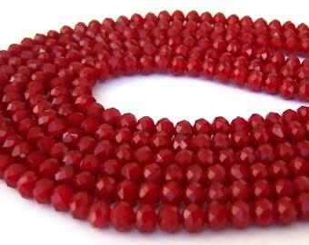 30 tiny deep red beads, 6mm x 4mm Chinese crystal rondelles, ruby quartz velvet