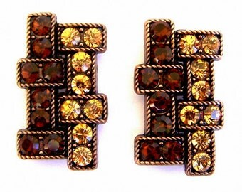 2 Art Deco style beads, large topaz crystal two hole slider beads, light topaz and smoked topaz geometric design