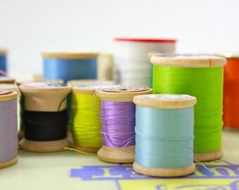 Vintage Wood Thread Spool Collection- Multicolor 38 Spools