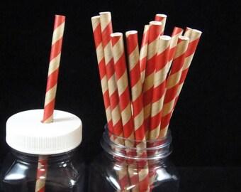 Red Kraft Striped Paper Straws, Mason Jar Straws, Weddings, Birthday Party, Baby Showers, Retro Paper Straws - QTY 12