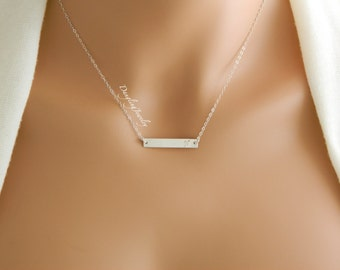 Personalized name bar necklace, silver initial necklace, Rectangle bar necklace, bridesmaid gift, modern bridesmaid jewelry, teen necklace