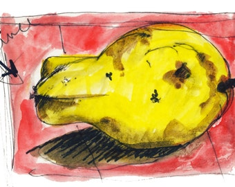 Golden Perfumed Quince. Gouache Pen & Ink drawing, Limited Edition Print one of only 25. Free World postage