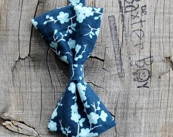 Blue Cherry Blossom little boy bow tie - photo prop, wedding, ring bearer, accessory