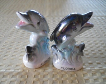 Dolphin Salt and Pepper Shakers - Vintage, Collectible, Souvenir